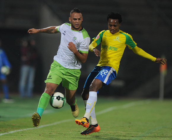 Percy Tau of Mamelodi Sundowns challenges Ryan De Jongh of Platinum Stars during the Absa Premiership match between Mamelodi Sundowns and Platinum Stars on 04 May 2017 at Lucas Moripe Stadium© Sydney Mahlangu /BackpagePix