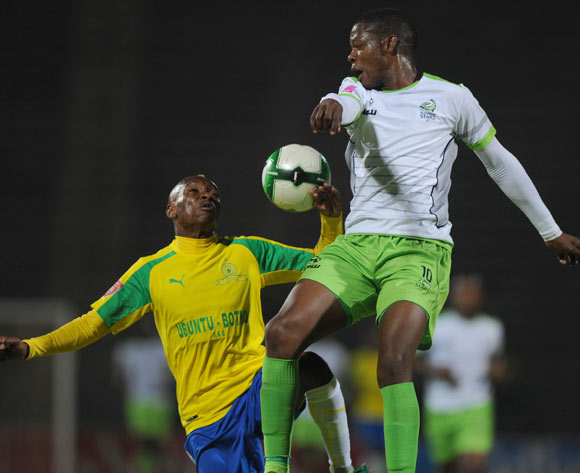 Khama Billiat of Mamelodi Sundowns is challenged by Ndumiso Mabena of Platinum Stars during the Absa Premiership match between Mamelodi Sundowns and Platinum Stars on 04 May 2017 at Lucas Moripe Stadium  © Sydney Mahlangu /BackpagePix