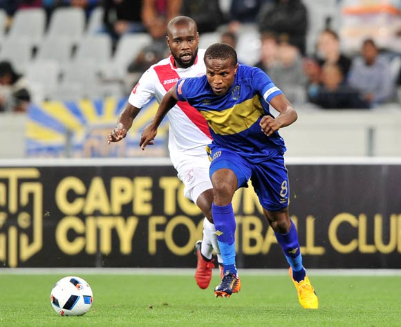 Lebogang Manyama of Cape Town City goes past Makhehleni Makhaula of Free State Stars during the Absa Premiership 2016/17 game between Cape Town City and Free State Stars at Cape Town Stadium on 5 May 2017 © Ryan Wilkisky/BackpagePix