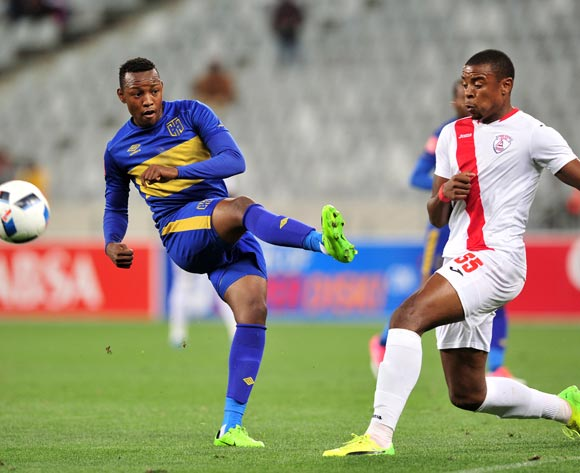Letsie Koapeng of Cape Town City has his shot blocked by Tamsanqa Teyise of Free State Stars during the Absa Premiership 2016/17 game between Cape Town City and Free State Stars at Cape Town Stadium on 5 May 2017 © Ryan Wilkisky/BackpagePix
