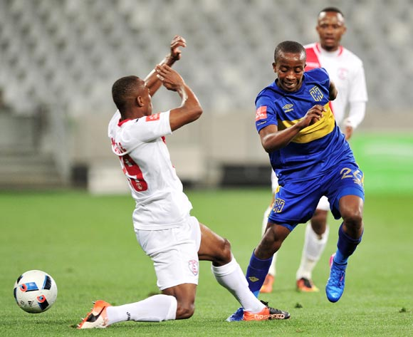 Thabo Nodada of Cape Town City takes on Sifiso Mbhele of Free State Stars during the Absa Premiership 2016/17 game between Cape Town City and Free State Stars at Cape Town Stadium on 5 May 2017 © Ryan Wilkisky/BackpagePix