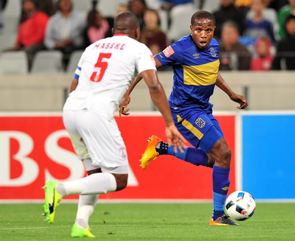Lebogang Manyama of Cape Town City runs at Paulus Masehe of Free State Stars during the Absa Premiership 2016/17 game between Cape Town City and Free State Stars at Cape Town Stadium on 5 May 2017 © Ryan Wilkisky/BackpagePix