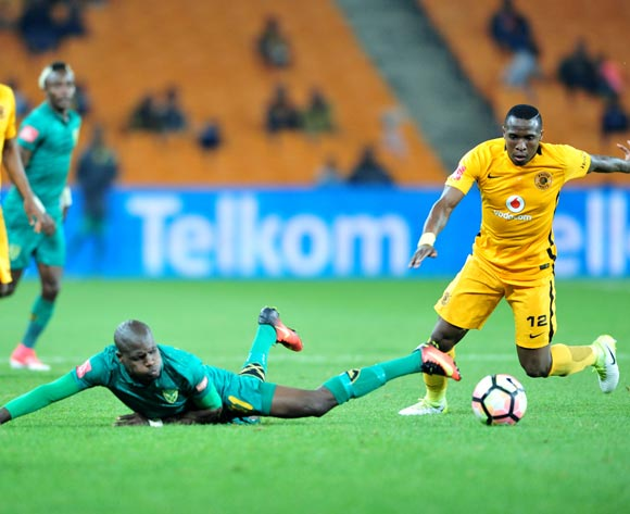 Lerato Lamola of Golden Arrows challenged by George Maluleka of Kaizer Chiefs during the Absa Premiership 2016/17 match between Kaizer Chiefs and Golden Arrows at the FNB Stadium, South Africa on 06 May 2017 ©Samuel Shivambu/BackpagePix