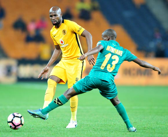Ramahlwe Mphahlele of Kaizer Chiefs challenged by Nkosinathi Mthiyane of Golden Arrows during the Absa Premiership 2016/17 match between Kaizer Chiefs and Golden Arrows at the FNB Stadium, South Africa on 06 May 2017 ©Samuel Shivambu/BackpagePix