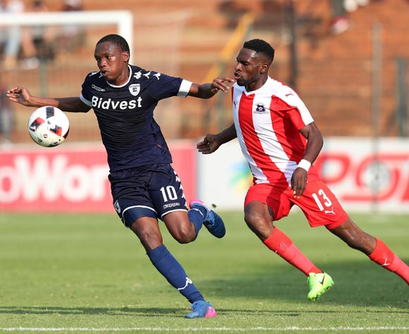 Mogakolodi Ngele of Bidvest Wits challenged by Fortune Makaringe of Maritzburg United during the Absa Premiership 2016/17 match between Bidvest Wits and Maritzburg United at Bidvest Stadium in Johannesburg, South Africa on 07 May 2017 ©Muzi Ntombela/BackpagePix