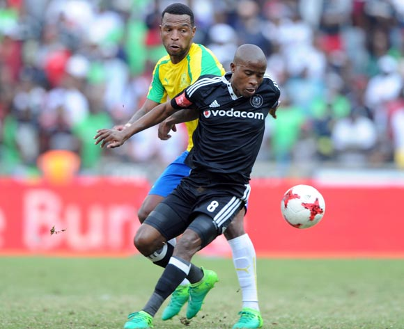 Mzikayise Mashaba of Mamelodi Sundowns challenges Thabo Matlaba of Orlando Pirates during the Absa Premiership match between Orlando Pirates and Mamelodi Sundowns  on 07 May 2017 at Orlando Stadium  © Sydney Mahlangu /BackpagePix