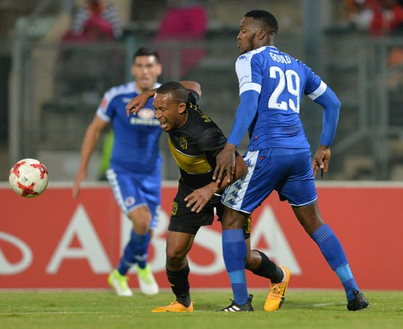 Lehlohonolo Majoro of Cape Town City challenged by Morgan Gould of Supersport United during the Absa Premiership 2016/17 match between Supersport United and Cape Town City at the Lucas Moripe Stadium, South Africa on 09 May 2017 ©Samuel Shivambu/BackpagePix