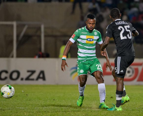 Didier Lebri of Bloemfontein Celtic and Thabo Rakhale of Orlando Pirates during the Absa Premiership match between Bloemfontein Celtic and Orlando Pirates on 10 May 2017 at Dr Molemela Stadium, Bloemfontein ©Frikkie Kapp /BackpagePix