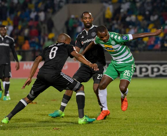 Ayanda Dlamini of Bloemfontein Celtic and Thabo Rakhale, Thabo Matlaba of Orlando Pirates  during the Absa Premiership match between Bloemfontein Celtic and Orlando Pirates on 10 May 2017 at Dr Molemela Stadium, Bloemfontein ©Frikkie Kapp /BackpagePix