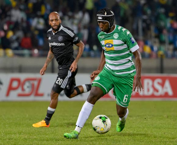 Mpho Maruping of Bloemfontein Celtic and Oupa Manyisa of Orlando Pirates during the Absa Premiership match between Bloemfontein Celtic and Orlando Pirates on 10 May 2017 at Dr Molemela Stadium, Bloemfontein ©Frikkie Kapp /BackpagePix