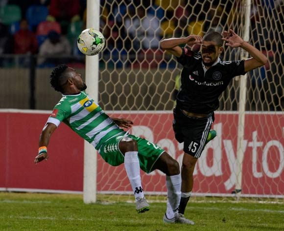 Didier Lebri of Bloemfontein Celtic and Abbubaker Mobara of Orlando Pirates during the Absa Premiership match between Bloemfontein Celtic and Orlando Pirates on 10 May 2017 at Dr Molemela Stadium, Bloemfontein ©Frikkie Kapp /BackpagePix