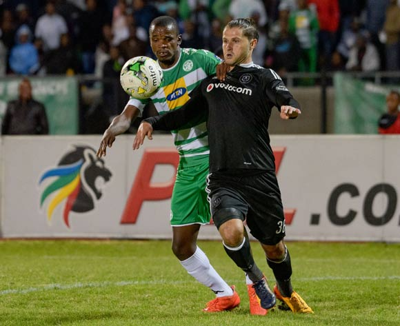 Marc Van Heerden of Orlando Pirates and Ayanda Dlamini of Bloemfontein Celtic  during the Absa Premiership match between Bloemfontein Celtic and Orlando Pirates on 10 May 2017 at Dr Molemela Stadium, Bloemfontein ©Frikkie Kapp /BackpagePix