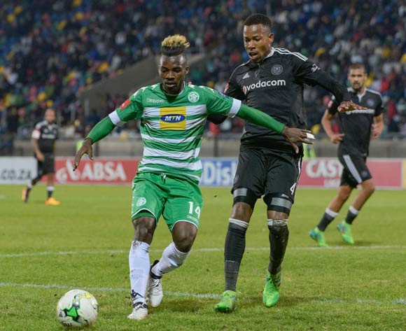 Fiston Abdoul of Bloemfontein Celtic and Happy Jele of Orlando Pirates during the Absa Premiership match between Bloemfontein Celtic and Orlando Pirates on 10 May 2017 at Dr Molemela Stadium, Bloemfontein ©Frikkie Kapp /BackpagePix