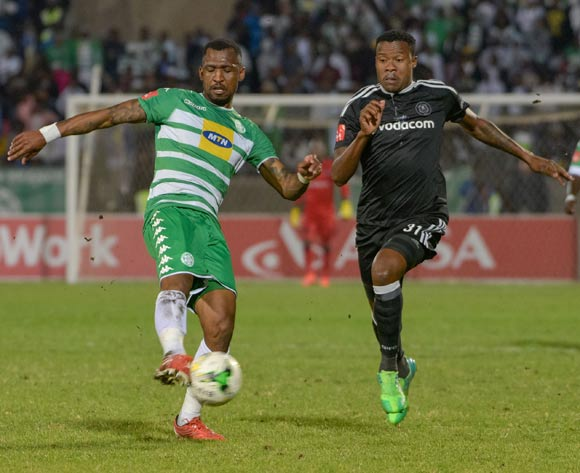 Alfred Ndengane of Bloemfontein Celtic and Thamsanqa Gabuza of Orlando Pirates during the Absa Premiership match between Bloemfontein Celtic and Orlando Pirates on 10 May 2017 at Dr Molemela Stadium, Bloemfontein ©Frikkie Kapp /BackpagePix