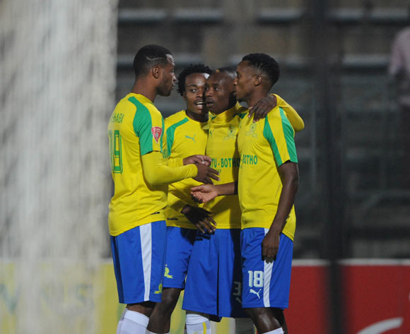 Khama Billiat of Mamelodi Sundowns celebrates goal with teammates during the Absa Premiership match between Mamelodi Sundowns and Baroka FC  on 10 May 2017 at Lucas Moripe Stadium  © Sydney Mahlangu /BackpagePix