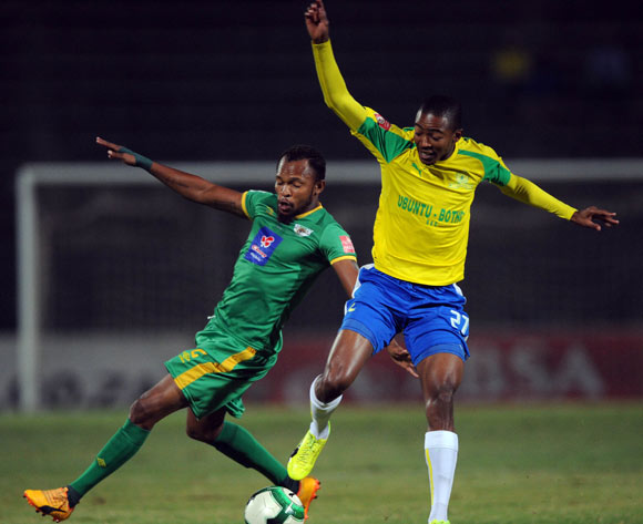 Punch Masenamela of Baroka FC challenges Thapelo Morena of Mamelodi Sundowns during the Absa Premiership match between Mamelodi Sundowns and Baroka FC  on 10 May 2017 at Lucas Moripe Stadium  © Sydney Mahlangu /BackpagePix