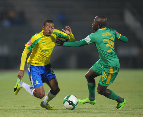Thapelo Morena of Mamelodi Sundowns is challenged by Mxolisi Kunene of Baroka FC during the Absa Premiership match between Mamelodi Sundowns and Baroka FC  on 10 May 2017 at Lucas Moripe Stadium  © Sydney Mahlangu /BackpagePix