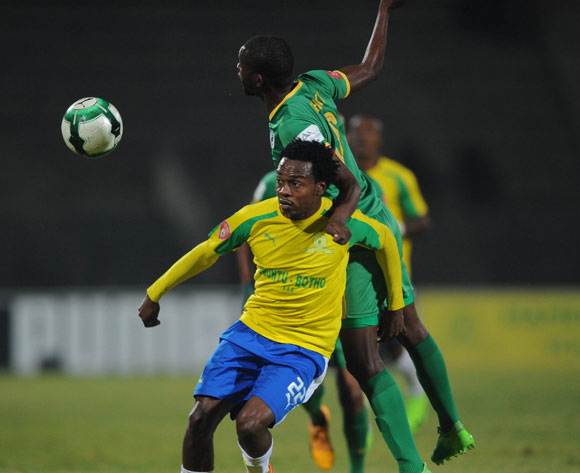 Percy Tau of Mamelodi Sundowns is challenged by Olaleng Shaku of Baroka FC during the Absa Premiership match between Mamelodi Sundowns and Baroka FC  on 10 May 2017 at Lucas Moripe Stadium  © Sydney Mahlangu /BackpagePix