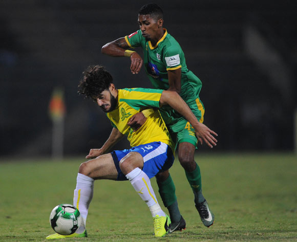 Jose Garcia of Baroka FC challenges Farces Hachi of Mamelodi Sundowns during the Absa Premiership match between Mamelodi Sundowns and Baroka FC on 10 May 2017 at Lucas Moripe Stadium  © Sydney Mahlangu /BackpagePix
