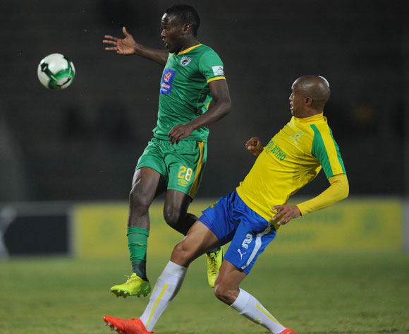 Victor Letsoalo of Baroka FC is challenged by Thabo Nthethe of Mamelodi Sundowns during the Absa Premiership match between Mamelodi Sundowns and Baroka FC on 10 May 2017 at Lucas Moripe Stadium  © Sydney Mahlangu /BackpagePix