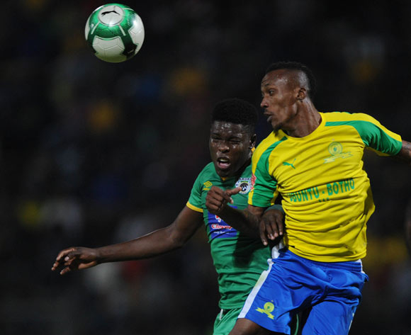 Yannick Zakri of Mamelodi Sundowns wins the ball ahead of Nyasha Munetsi of Baroka FC during the Absa Premiership match between Mamelodi Sundowns and Baroka FC on 10 May 2017 at Lucas Moripe Stadium  © Sydney Mahlangu /BackpagePix