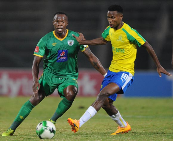 Letladi Madubanya of Baroka FC is challenged by Themba Zwane of Mamelodi Sundowns during the Absa Premiership match between Mamelodi Sundowns and Baroka FC on 10 May 2017 at Lucas Moripe Stadium  © Sydney Mahlangu /BackpagePix