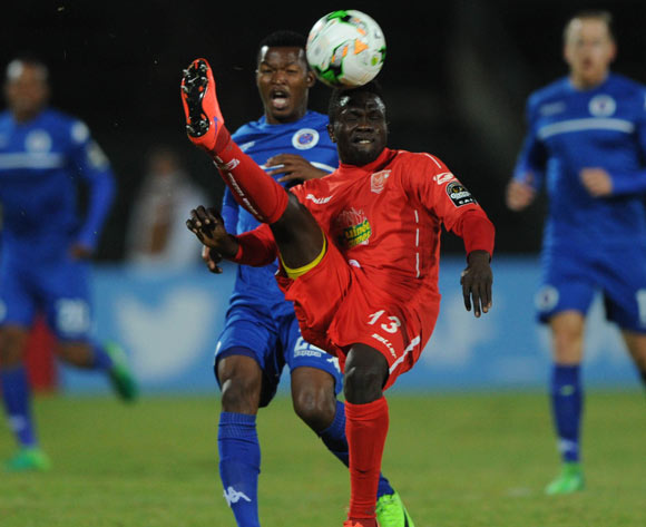 Mandla Masango of Supersport United is challenged by Alseny Camara of Horoya FC during the CAF Confederation Cup match between Supersport United and Horoya  on 12 May 2017 at Lucas Moripe Stadium  © Sydney Mahlangu /BackpagePix