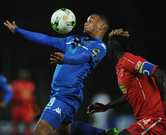 Fagrie Lakay of Supersport United is challenged by Aboubacar Camara of Horoya FC  during the CAF Confederation Cup match between Supersport United and Horoya  on 12 May 2017 at Lucas Moripe Stadium  © Sydney Mahlangu /BackpagePix