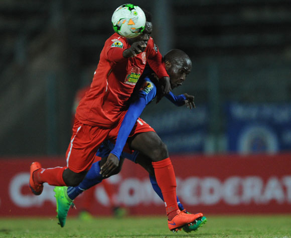 Aubrey Modiba of Supersport United is challenged by Alseny Camara of Horoya FC  during the CAF Confederation Cup match between Supersport United and Horoya  on 12 May 2017 at Lucas Moripe Stadium  © Sydney Mahlangu /BackpagePix
