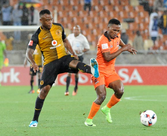 Vusimusi Mngomezulu of Polokwane City and Tsepo Masilela of Kaizer Chiefs during the Absa Premiership 2016/17 game between Polokwane City and Kaizer Chiefs at Peter Mokaba Stadium in Polokwane on 13 May 2017 ©/BackpagePix