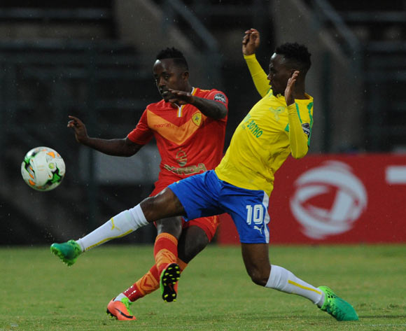 Teko Modise of Mamelodi Sundowns challenges Aschalew Tamene of St George  during the CAF Champions League match between Mamelodi Sundowns and St George on 13 May 2017 at Lucas Moripe Stadium, Pretoria South Africa   © Sydney Mahlangu /BackpagePix