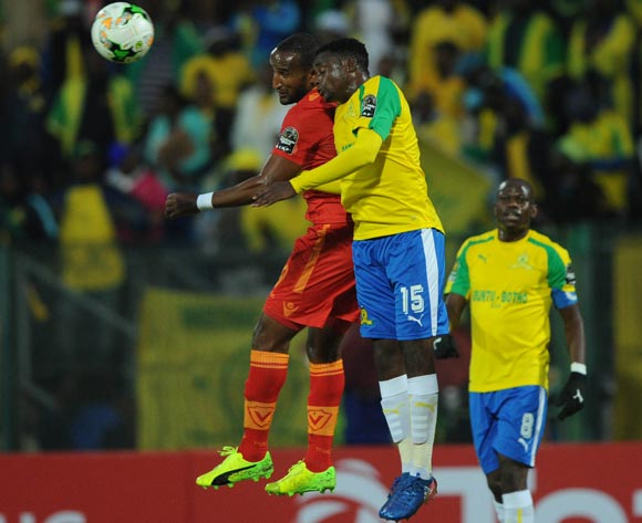 Adane Gebreyes of St George challenges Lucky Mohomi of Mamelodi Sundowns  during the CAF Champions League match between Mamelodi Sundowns and St George on 13 May 2017 at Lucas Moripe Stadium, Pretoria South Africa   © Sydney Mahlangu /BackpagePix