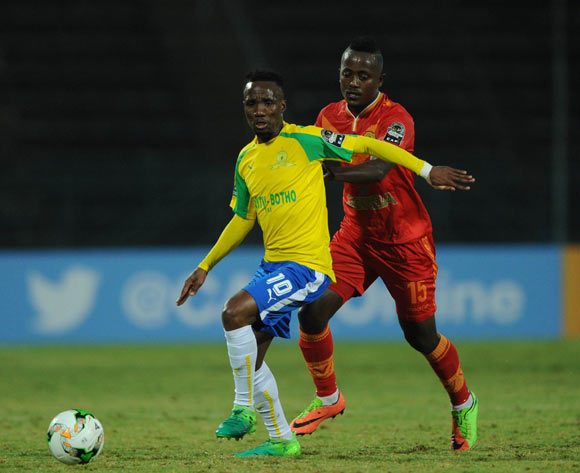 Teko Modise of Mamelodi Sundowns is challenged by  Aschalew Tamene of St George  during the CAF Champions League match between Mamelodi Sundowns and St George on 13 May 2017 at Lucas Moripe Stadium, Pretoria South Africa   © Sydney Mahlangu /BackpagePix