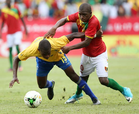 CHRISTOPHE ONA NGUEMA of Gabon fouled by AGUIBOU CAMARA of Guinea during the 2017 Under 17 Africa Cup of Nations Finals football match between Gabon and Guinea at the Port Gentil Stadium, Gabon on 14 May 2017 ©Alain Guy Suffo/BackpagePix