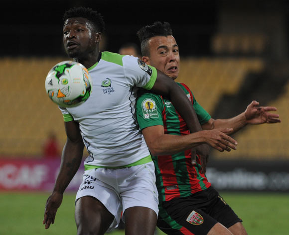 Michael Mabule of Platinum Stars is challenged by Sid Ahmed Aouadj of Moulouda Club Alger during the CAF Confederation Cup match between Platinum Stars and Mouloudia Club on 14 May 2017 at Royal Bafokeng Stadium, Rustenburg, South Africa © Sydney Mahlangu /BackpagePix