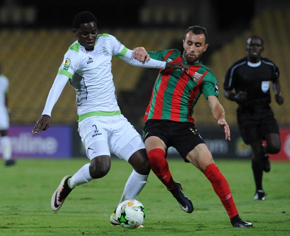 Benson Shilongo of Platinum Stars is challenged by Walid Derardja of Moulouda Club Alger during the CAF Confederation Cup match between Platinum Stars and Mouloudia Club on 14 May 2017 at Royal Bafokeng Stadium, Rustenburg, South Africa© Sydney Mahlangu /BackpagePix
