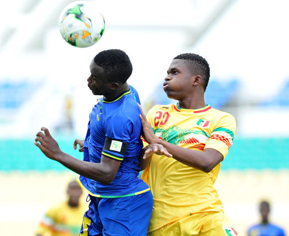 Dickson Nickson Job of Tanzania challenged by Cheick Oumar Doucoure of Mali during the 2017 Under 17 Africa Cup of Nations Finals football match between Mali and Tanzania at the Libreville Stadium in Gabon on 15 May 2017 ©Samuel Shivambu/BackpagePix