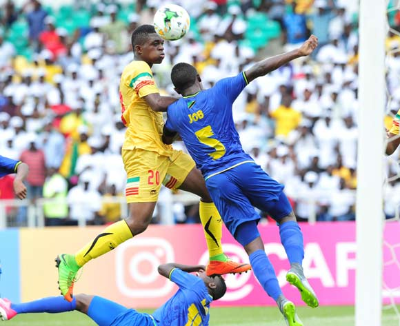 Cheick Oumar Doucoure of Mali challenged by Dickson Nickson Job of Tanzania during the 2017 Under 17 Africa Cup of Nations Finals football match between Mali and Tanzania at the Libreville Stadium in Gabon on 15 May 2017 ©Samuel Shivambu/BackpagePix