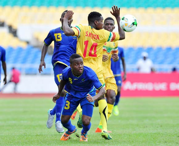 Nickson Clement Kibabage of Tanzania challenged by Sibiry Diako of Mali during the 2017 Under 17 Africa Cup of Nations Finals football match between Mali and Tanzania at the Libreville Stadium in Gabon on 15 May 2017 ©Samuel Shivambu/BackpagePix