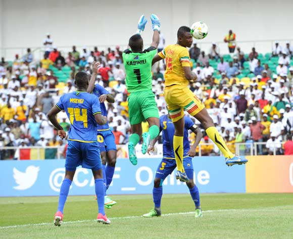 Ramadhani Awam Kabwili of Tanzania challenged by Abdoulaye Diaby of Mali during the 2017 Under 17 Africa Cup of Nations Finals football match between Mali and Tanzania at the Libreville Stadium in Gabon on 15 May 2017 ©Samuel Shivambu/BackpagePix