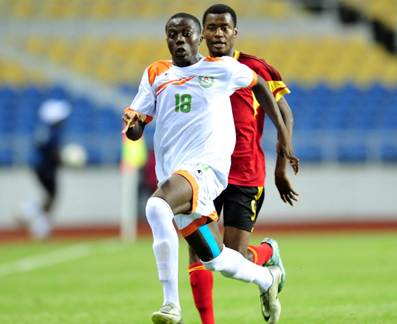 Ibrahim Namata of Niger challenged by Orlando Luis Secali of Angola during the 2017 Under 17 Africa Cup of Nations Finals football match between Angola and Niger at the Libreville Stadium in Gabon on 15 May 2017 ©Samuel Shivambu/BackpagePix