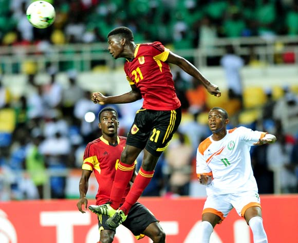 Moises Pedro Amor of Angola challenged by Abdoul Karim Sanda of Niger during the 2017 Under 17 Africa Cup of Nations Finals football match between Angola and Niger at the Libreville Stadium in Gabon on 15 May 2017 ©Samuel Shivambu/BackpagePix