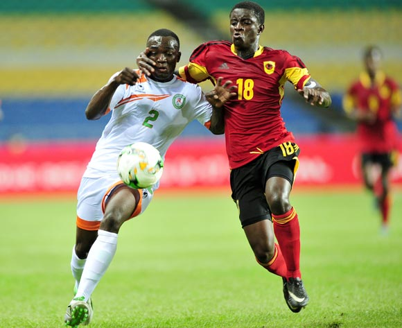 Yacine Wa Massamba of Niger challenged by Adalmiro Patricio Pacheco Da Silva of Angola during the 2017 Under 17 Africa Cup of Nations Finals football match between Angola and Niger at the Libreville Stadium in Gabon on 15 May 2017 ©Samuel Shivambu/BackpagePix