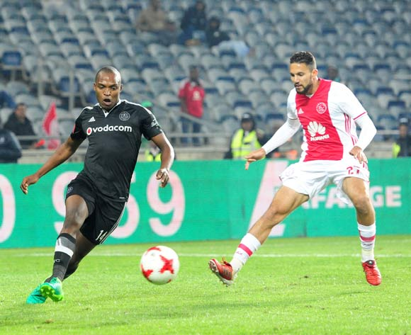 Gift Motupa of Orlando Pirates challenged by Roscoe Petersen of Ajax Cape Town during the Absa Premiership 2016/17 football match between Orlando Pirates and Ajax Cape Town at Orlando Stadium, Cape Town on 17 May 2017 ©Aubrey Kgakatsi/BackpagePix