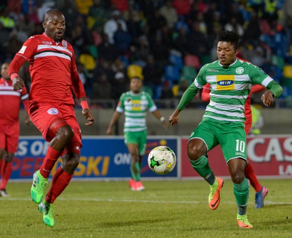 Dumisani Zuma of Bloemfontein Celtic and Rooi Mahamutsa of Free State Stars  during the Absa Premiership match between Bloemfontein Celtic and Free State Stars on 17 May 2017 at Dr Molemela Stadium, Bloemfontein ©Frikkie Kapp /BackpagePix