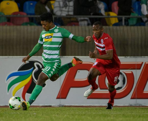 Dumisani Zuma of Bloemfontein Celtic and Sifiso Mbhele of Free State Stars  during the Absa Premiership match between Bloemfontein Celtic and Free State Stars on 17 May 2017 at Dr Molemela Stadium, Bloemfontein ©Frikkie Kapp /BackpagePix