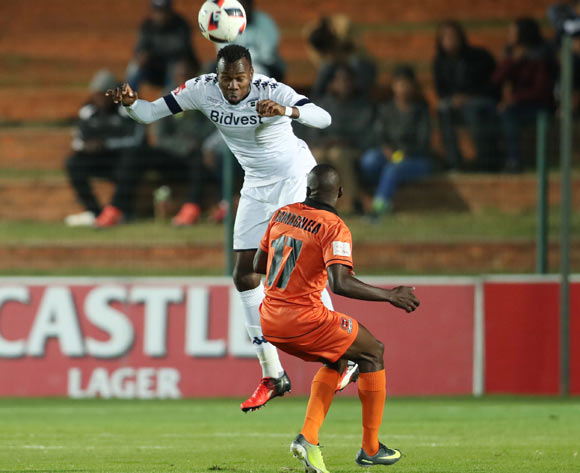 Bongani Khumalo of Bidvest Wits wins header against Rodney Ramagalela of Polokwane City during the 2016/17 Absa Premiership football match between Bidvest Wits and Polokwane City at Bidvest Stadium, Johannesburg on 17 May 2017 ©Gavin Barker/BackpagePix