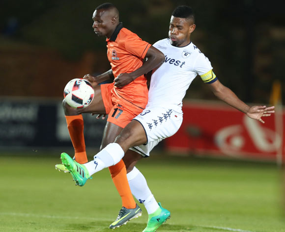Thulani Hlatshwayo of Bidvest Wits challenges Rodney Ramagalela of Polokwane City during the 2016/17 Absa Premiership football match between Bidvest Wits and Polokwane City at Bidvest Stadium, Johannesburg on 17 May 2017 ©Gavin Barker/BackpagePix