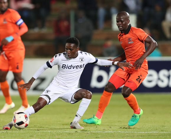 Elias Pelembe of Bidvest Wits shields ball from Simphiwe Hlongwane of Polokwane City during the 2016/17 Absa Premiership football match between Bidvest Wits and Polokwane City at Bidvest Stadium, Johannesburg on 17 May 2017 ©Gavin Barker/BackpagePix