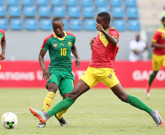 Moise Sakava Sangola of Cameroon challenged by Sekou Camara of Guinea during the 2017 Under 17 Africa Cup of Nations Finals football match between Guinea and Cameroon at the Port Gentil Stadium, Gabon on 17 May 2017 ©Muzi Ntombela/BackpagePix